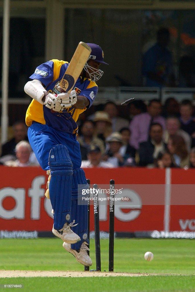 Sanath Juyasuriya of Sri Lanka is bowled by Ashish Nehra during the NatWest Series One Day International between India and Sri Lanka at Edgbaston...
