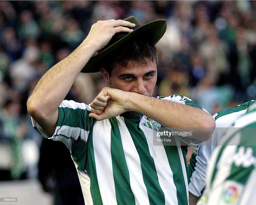 Sanchez Joaquin of Betis celebrates during the game between Betis and Malaga of Primera Division liga played at Ruiz de Lopera Stadium on January 11...