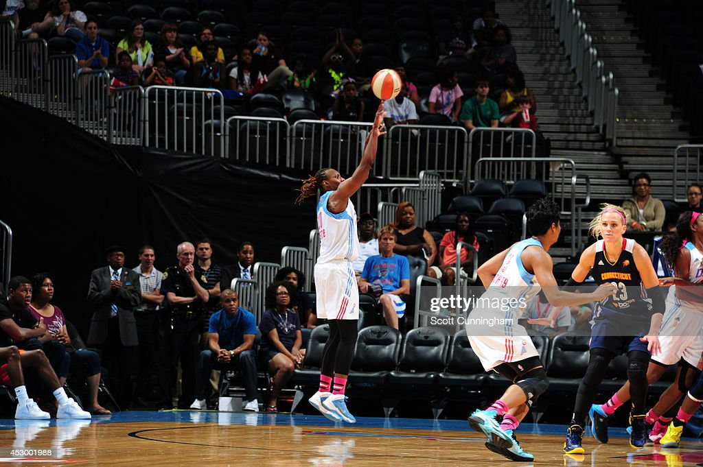 <a gi-track='captionPersonalityLinkClicked' href=/galleries/search?phrase=Sancho+Lyttle&family=editorial&specificpeople=239071 ng-click='$event.stopPropagation()'>Sancho Lyttle</a> #20 of the Atlanta Dream shoots the ball against the Connecticut Sun on July 29, 2014 at Philips Arena in Atlanta, Georgia.