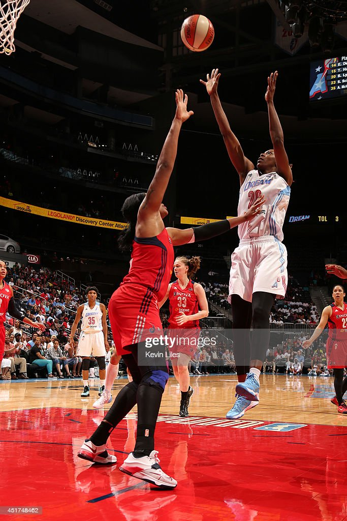Sancho Lyttle #20 of the Atlanta Dream takes a shot against the Washington Mystics at Philips Arena on July 5, 2014 in Atlanta, Georgia.