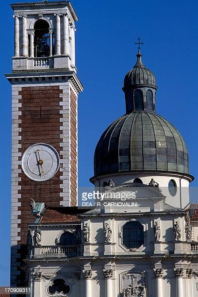 Sanctuary of Our Lady of Monte Berico facade of the basilica dome and bell tower Vicenza Veneto Italy