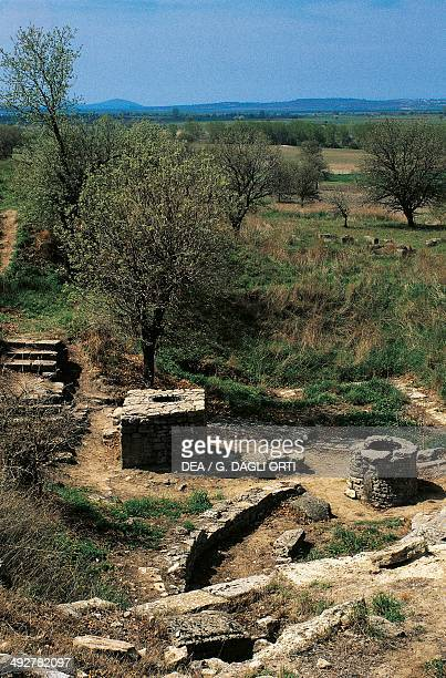 Sanctuary Troy VIII with the two wells from the Greek period archaeological site of ancient Troy Hisarlik Turkey