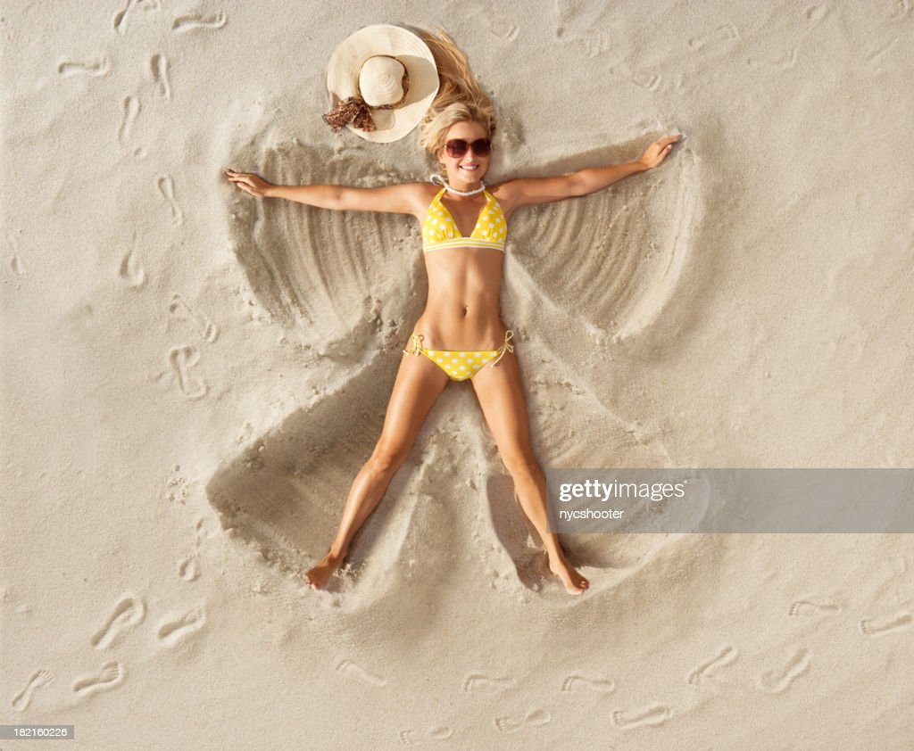 Sand Angel in Polka dot bikini