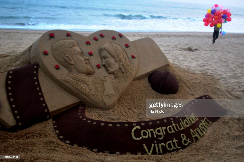 A sand art about the Indian cricket team captain Virat Kohali