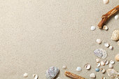 Sandy beach texture for background. Summer concept. Top view