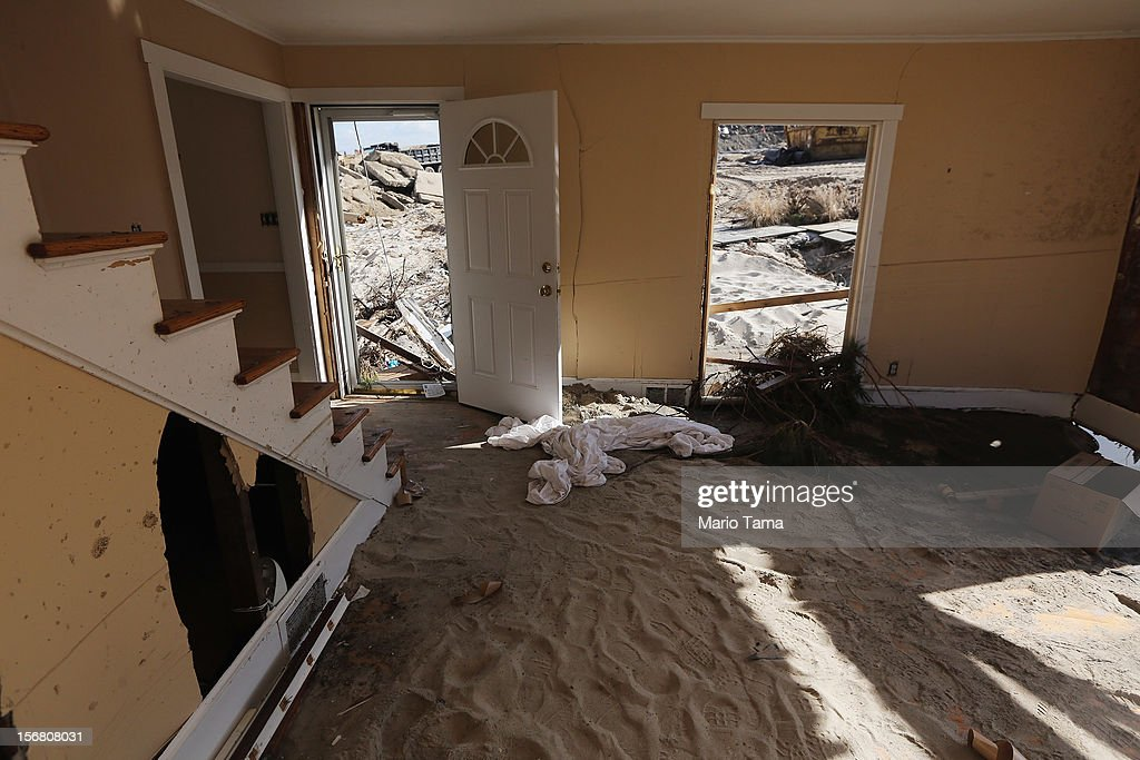 Sand coats the floor of a destroyed home on November 21, 2012 in Mantoloking, New Jersey. Mantoloking was one of the hardest hit areas by Superstorm Sandy.