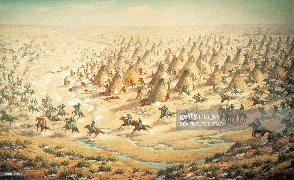 Sand Creek Massacre, November 29, 1864, by Robert Lindneux. Native American Wars, United States, 19th century.