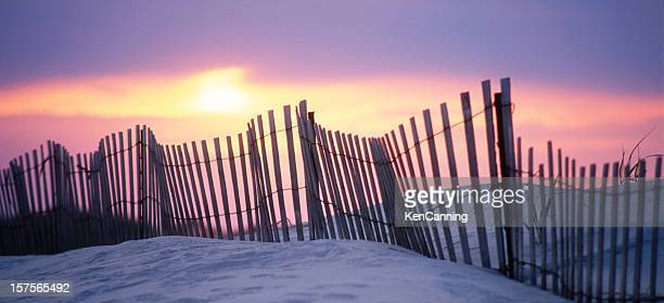 Sand Dune Fence at Sunset