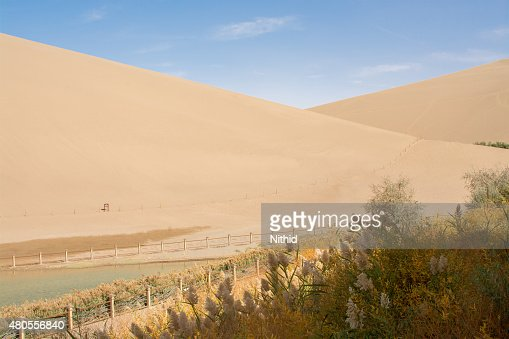 Sand dune in the desert, Dunhuang, China : Stock Photo
