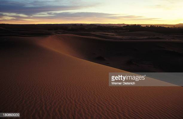 Sand dunes, desert, desert landscape, twilight, Erg Chebbi near Merzouga, Morocco, Africa