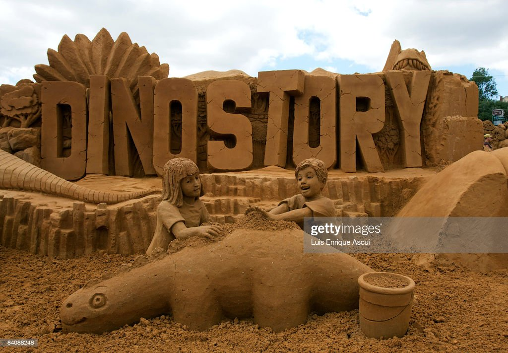 Sand esculpture works are seen at the Sand Sculpting Australia exhibition 'DinoStory' at Frankston Waterfront on December 19, 2008 in Melbourne, Australia. The exhibition, which will take 21 artists three weeks to construct, will be open to the public from December 26 to April 25.
