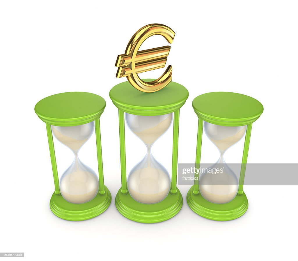 Sand glasses and euro symbol. : Stockfoto