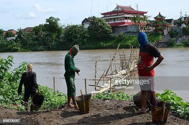 Sand miners use a bamboo bridge to facilitate diving in the middle of the Brantas River The miners dive into the river to dredge sand and every day...