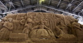 A sand replica titled 'Absolute Monarchism Under the Regime of Queen Elizabeth I' by Ilya Filimontsev of Russia at Sand Museum located in the Tottori...