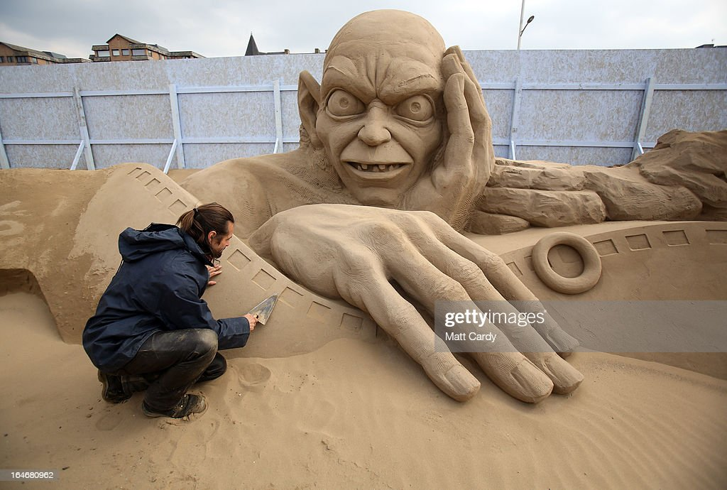 Sand sculptor Radavan Zivny works on a sand sculpture of Gollum as pieces are prepared as part of this year's Hollywood themed annual Weston-super-Mare Sand Sculpture festival on March 26, 2013 in Weston-Super-Mare, England. Due to open on Good Friday, currently twenty award winning sand sculptors from across the globe are working to create sand sculptures including Harry Potter, Marilyn Monroe and characters from the Star Wars films as part of the town's very own movie themed festival on the beach.