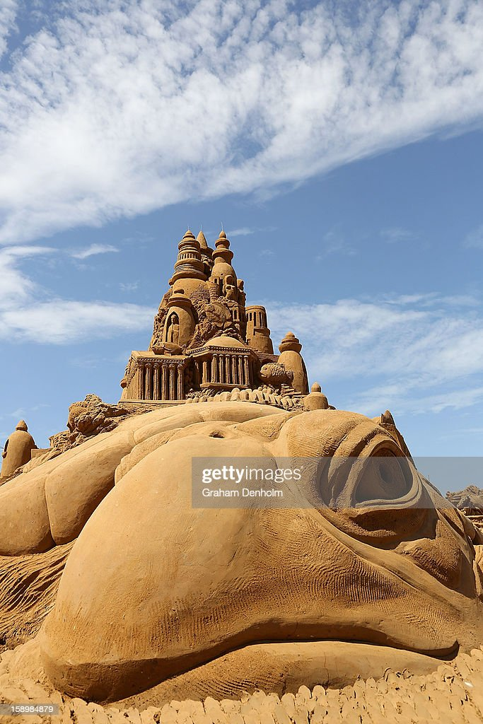 A sand sculpture entitled 'Atlantis' carved by Sandis Kondis and Sue McGrew is seen at the Under the Sea sand sculpture exhibition at the Frankston waterfront on January 5, 2013 in Melbourne, Australia. Sand sculptures created by a team of Australian and international artists will be on display until April 28, 2013.