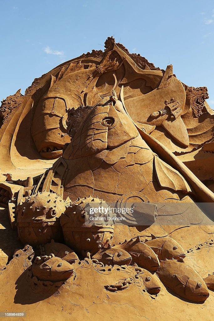A sand sculpture entitled 'Battlefish' carved by Jakub Zimacek and Leo Vamvalis is seen at the Under the Sea sand sculpture exhibition at the Frankston waterfront on January 5, 2013 in Melbourne, Australia. Sand sculptures created by a team of Australian and international artists will be on display until April 28, 2013.