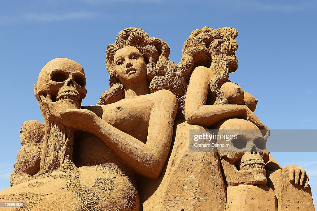A sand sculpture entitled 'Mermaids' carved by Karen Fralich is seen at the Under the Sea sand sculpture exhibition at the Frankston waterfront on January 5, 2013 in Melbourne, Australia. Sand sculptures created by a team of Australian and international artists will be on display until April 28, 2013.