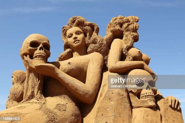 A sand sculpture entitled 'Mermaids' carved by Karen Fralich is seen at the Under the Sea sand sculpture exhibition at the Frankston waterfront on...
