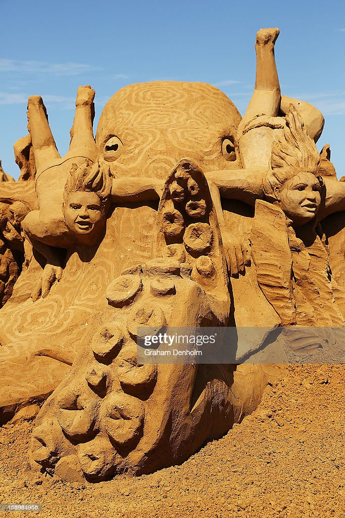 A sand sculpture entitled 'Octopus Garden' carved by Joris Kivits is seen at the Under the Sea sand sculpture exhibition at the Frankston waterfront on January 5, 2013 in Melbourne, Australia. Sand sculptures created by a team of Australian and international artists will be on display until April 28, 2013.