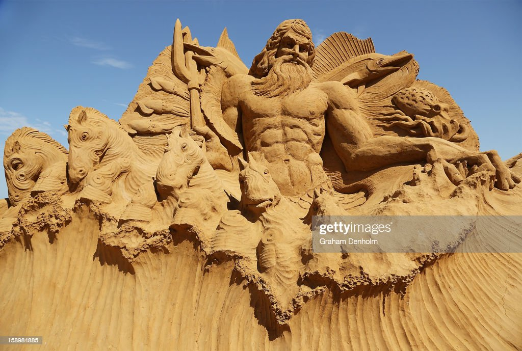 A sand sculpture entitled 'Poseidon' carved by Martijn Rijerse and Hanneke Supply is seen at the Under the Sea sand sculpture exhibition at the Frankston waterfront on January 5, 2013 in Melbourne, Australia. Sand sculptures created by a team of Australian and international artists will be on display until April 28, 2013.