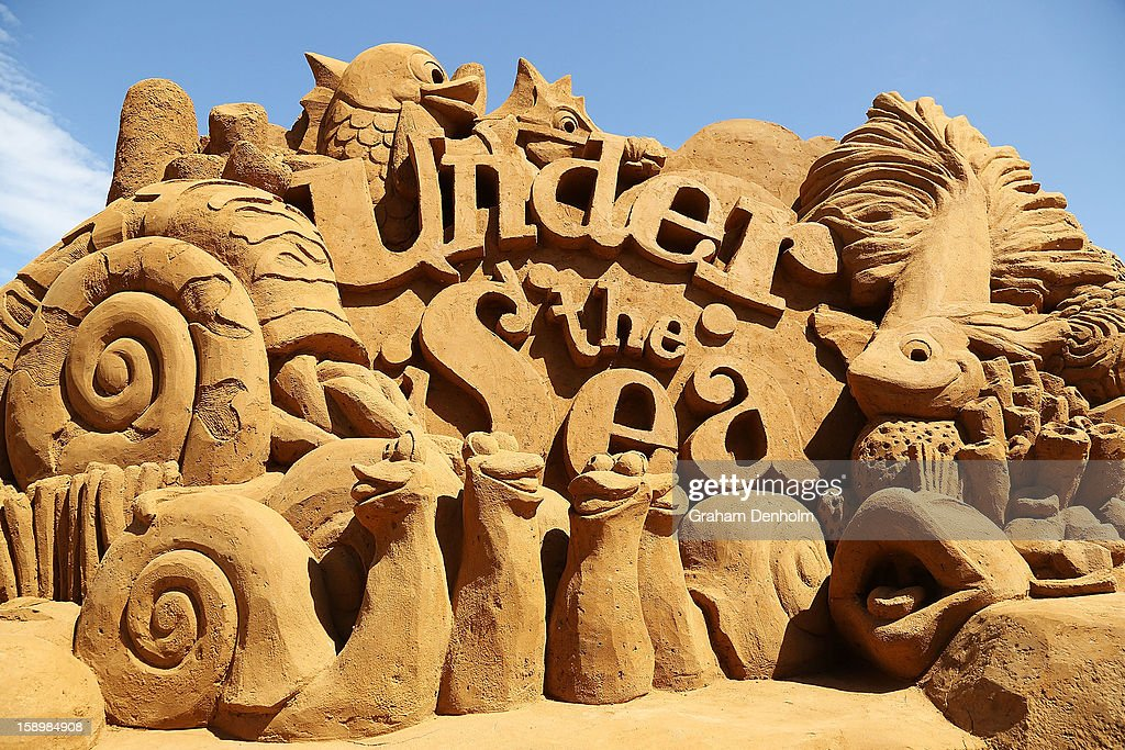 A sand sculpture entitled 'Under The Sea' carved by Kevin Crawford is seen at the Under the Sea sand sculpture exhibition at the Frankston waterfront on January 5, 2013 in Melbourne, Australia. Sand sculptures created by a team of Australian and international artists will be on display until April 28, 2013.