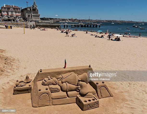 Sand sculpture in Praia da Ribeira on June 11 2016 in Cascais Portugal Cascais a coastal town and a municipality 30 kilometers west of Lisbon is a...