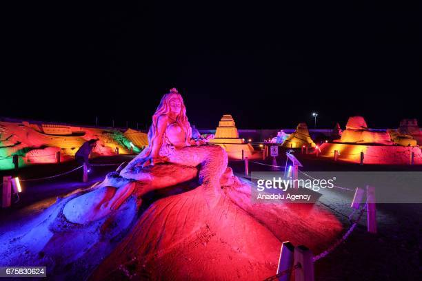 A sand sculpture is exhibited during the 11th International Antalya Sand Sculpture Festival in Antalya Turkey on May 02 2017 Sand sculptures are...