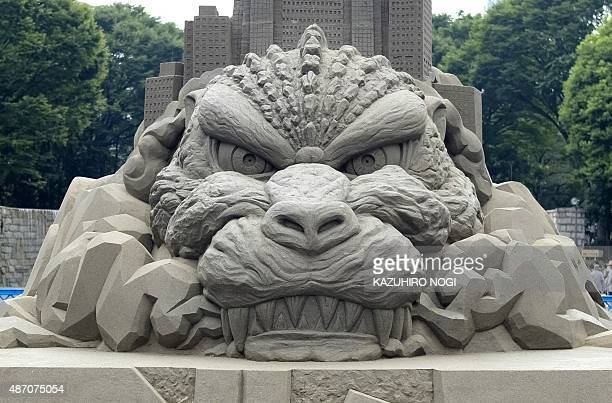 A sand sculpture of iconic movie monster Godzilla is displayed in Tokyo's Shinjuku Chuo Park on September 6 2015 The sculpture will be on display...