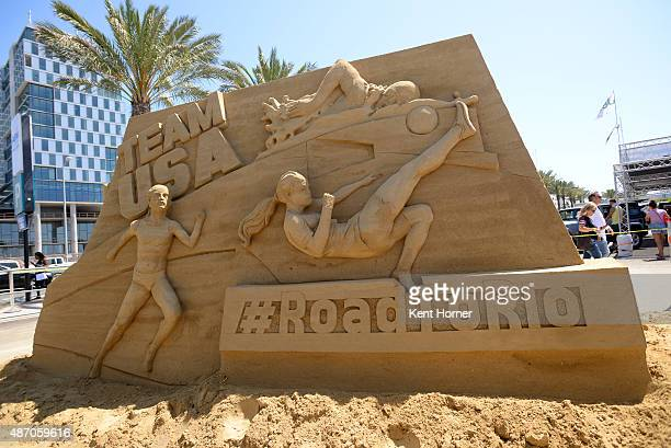A sand sculpture welcomes fans at the enterance of the USOC Road To Rio Tour on September 5 2015 in San Diego California