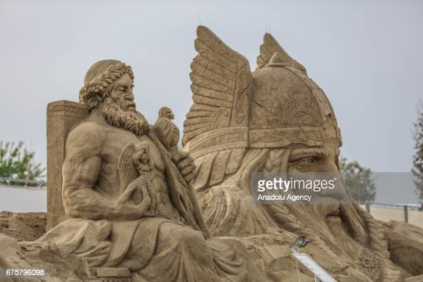 Sand sculptures are exhibited during the 11th International Antalya Sand Sculpture Festival in Antalya Turkey on May 02 2017 Sand sculptures are...