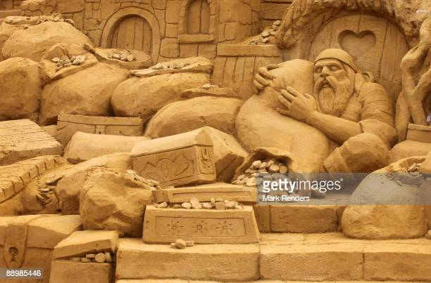 Sand sculptures of pirates are shown at the annual sand sculpture festival that is open until end of August on July 11 2009 in Blankenberge Belgium