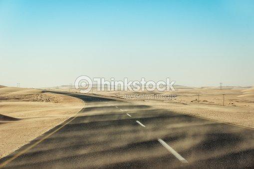 Sand Sturm über Einsam Desert Road Im Süden Namibias Aufgenommen Im
