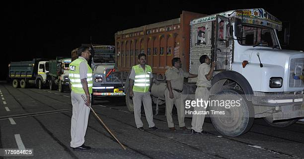 14 sand trucks caught at film city flyover by police on Saturday night more than 6 drivers are arrested on August 11 2013 in Noida India Illegal sand...