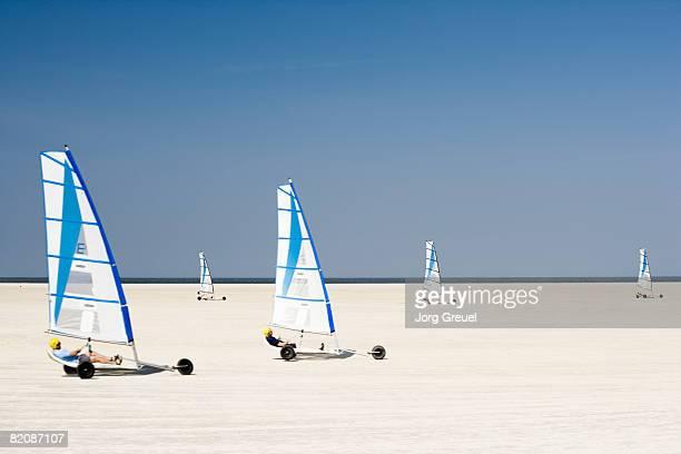 Sand yachting on beach