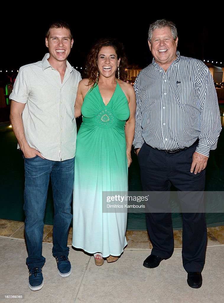 Sandals Resorts International CEO Adam Stewart, Marissa Jaret Winokur, and Sandals Resorts International Chairman Butch Stewart attend the Happy Hour Welcome Reception & Discovery Dining Dinner during Day Two of the Sandals Emerald Bay Celebrity Getaway And Golf Weekend on September 28, 2013 at Sandals Emerald Bay in Great Exuma, Bahamas.