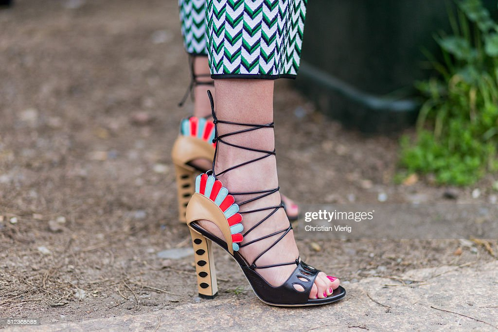 Sandals seen outside Costume National during Milan Fashion Week Fall/Winter 2016/17 on February 25 in Milan Italy