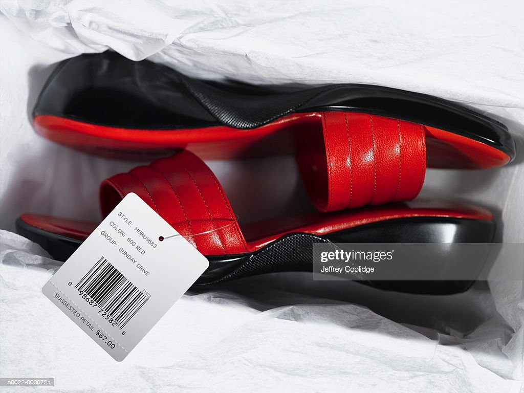 Sandals with Price Tag in Box : Stock Photo