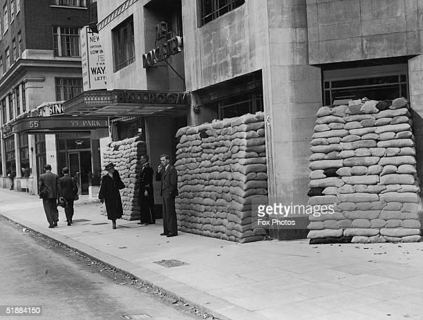 Sandbags protect the ballroom entrance of the Dorchester Hotel in Park Lane during World War II circa 1942