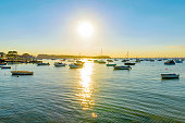 Sandbanks beach harbor during sunset