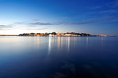 Sandbanks peninsular and Poole Harbour on the UK's south coast at night