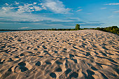 wide angle view of sand dune in sandbanks provincial park