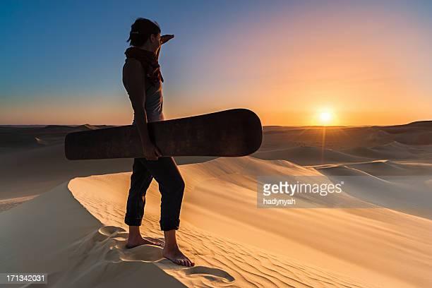 Sandboarding in The Sahara Desert, Africa