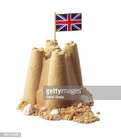 Sandcastle with UK flag