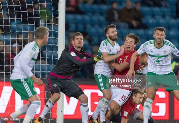 Sander Berge Alexander Soederlund of Norway George Saville Michael McGovern Stuart Dallas Gareth McAuley of Northern Ireland during the FIFA 2018...