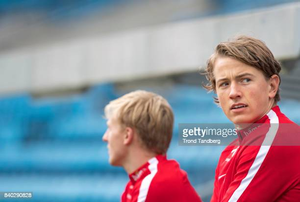 Sander Berge and Mats Moller Daehli of Norway during the FIFA 2018 World Cup Qualifier training between Norway and Azerbaijan at Ullevaal Stadion on...