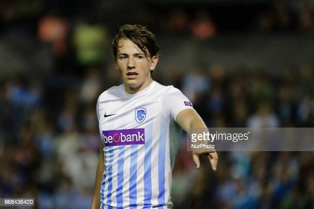 Sander Berge midfielder of KRC Genk FC during the UEFA Europe League Round of 4 first leg match between Celta de Vigo and KRC Genk FC at Balaidos...