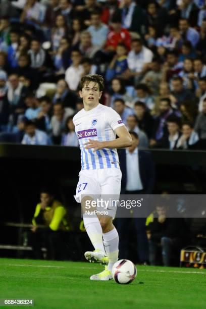 Sander Berge midfielder of KRC Genk FC takes a shot during the UEFA Europe League Round of 4 first leg match between Celta de Vigo and KRC Genk FC at...