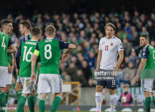 Sander Berge of Norway during the FIFA 2018 World Cup Qualifier between Northern Ireland and Norway at Windsor Park on March 26 2017 in Belfast...