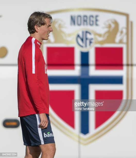 Sander Berge of Norway during the FIFA 2018 World Cup Qualifier training between Norway and Azerbaijan at Bislett Stadion on August 30 2017 in Oslo